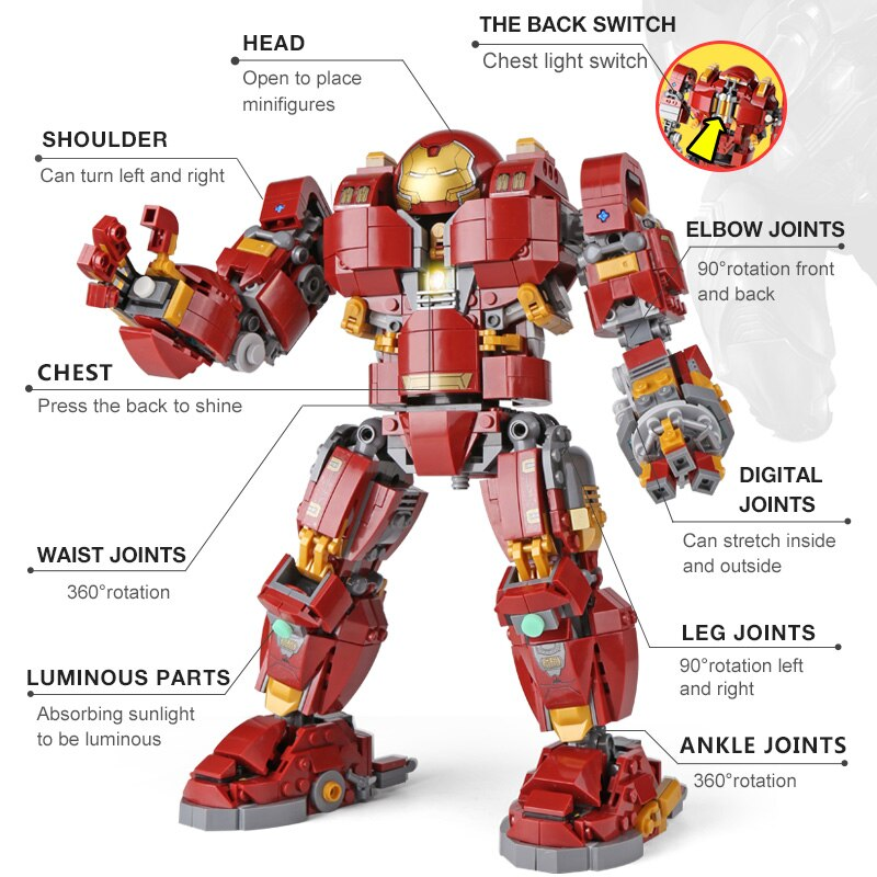DHL 07101 Super Hero Toys Series The 76105 Iron Man Anti Hulk Mech Set Assembly Kids Toys Building Bricks Blocks Model Gifts (1527pcs)