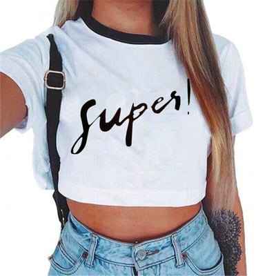 Hot Women's Crop Top Short Sleeve Letter Rose T Shirts Women Brand New Casual Tees Summer Female T Shirt Cute Cropped Top