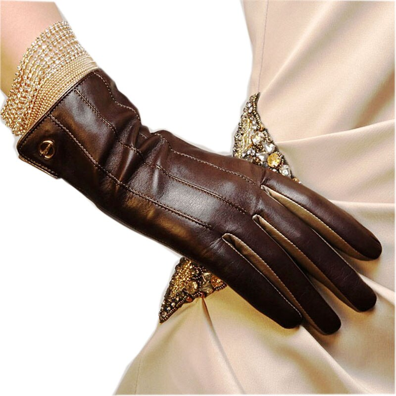 Winter Top Quality Women Gloves Wrist Short Genuine Leather Glove Female  Thermal Sheepskin For Driving Free Shipping EL031NR-5