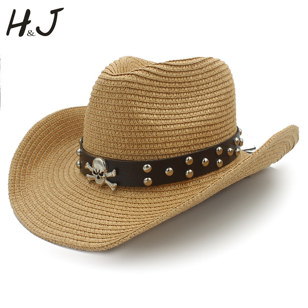 Women Men Straw Western Cowboy Hats With Roll Up Brim Lady Gentleman Summer Beach Cowgirl Sombrero Hombre Sun Cap Size 56-58CM