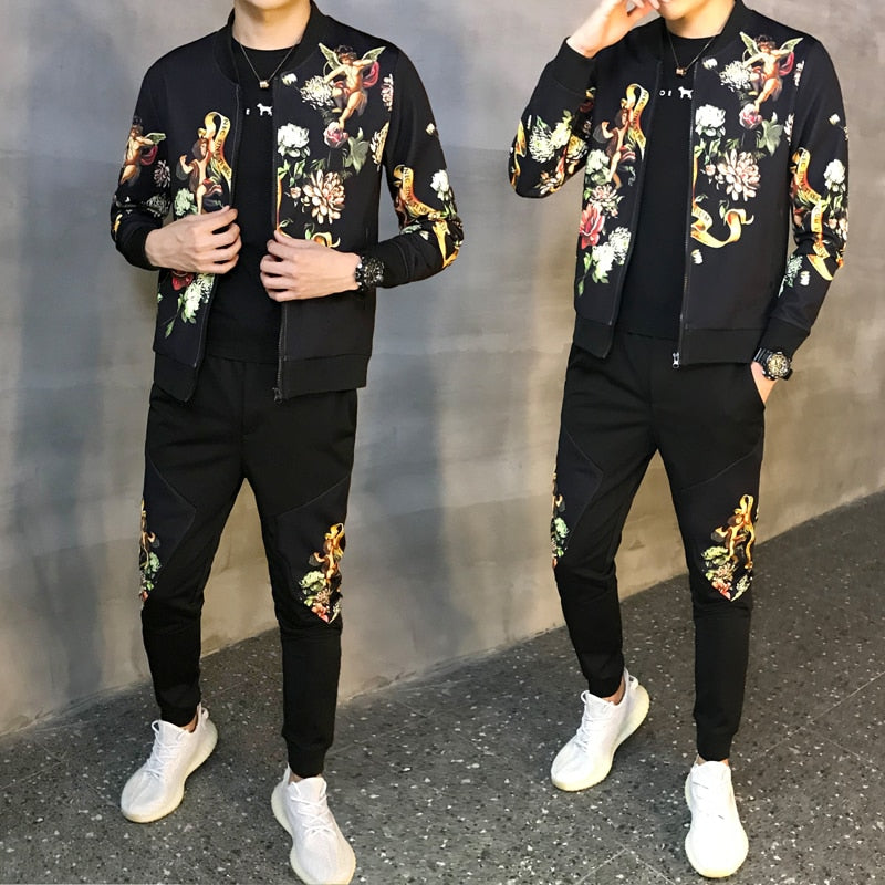 Tracksuit Male Tracksuit Asian Size Moda Hombre 2020 New Men's Set Autumn Man Sport 2 Piece Sets Sport Suit Jacket + Pants 5xl