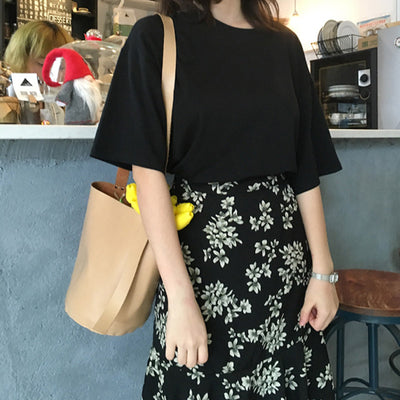 Casual Solid Ladies Black White Cotton Oversize T Shirt Women Tshirt Plus Size Short Sleeve O-neck DX612