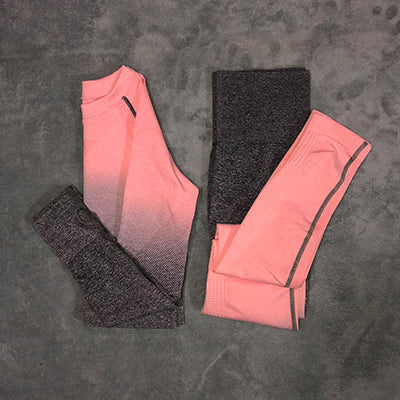 Women Yoga Set Gym Clothing Ombre Seamless Leggings+Cropped Shirts Workout Sport Suit Women Long Sleeve Fitness Set Active Wear