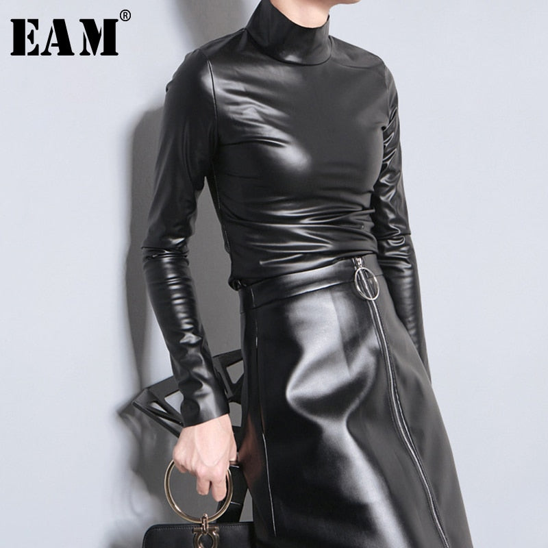 [EAM] 2020 New Spring Autumn PU Leather Turtleneck Long Sleeve Simple Temperament T-shirt Women Fashion Tide All-match JY933 (black One Size)