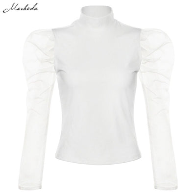 Macheda Fashion Mesh Patchwork Long Sleeve T Shirt Women Solid Casual Turtleneck Slim Top Ladies Basic Summer Tee 2019 New