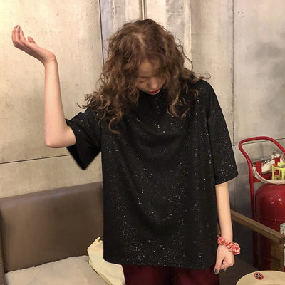 2019 New T-shirt Women Sparkling Solid Color Tshirt Stray Children Fashion T-shirt Female Dropshipping Korean Clothes Harajuku