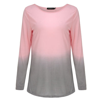 2019 Lady T-shirt Gradient Style Casual Tee shirts Cotton Tops Plus Size Spring Autumn Women Crew Neck Long Sleeve Dropshipping