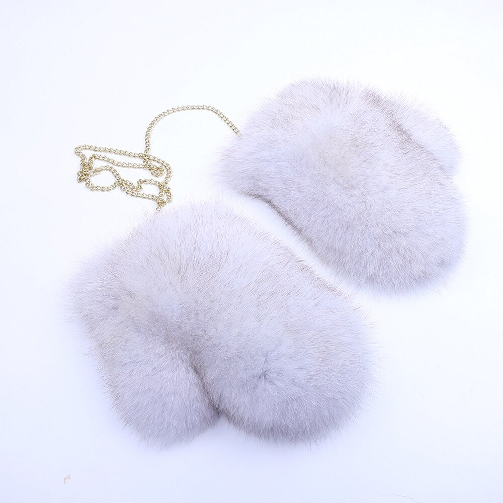 Women's Fox Fur Gloves Mittens Female Gloves Lined New Genuine Leather Glove Russian Removable Chain Fox Fur White Glove Winter