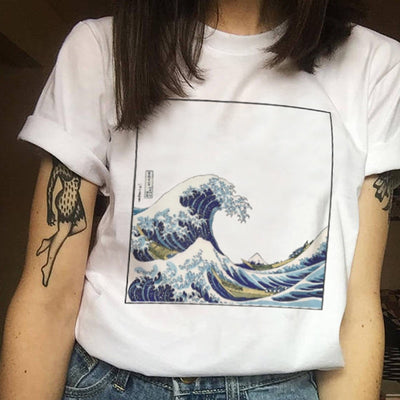 Female Summer Harajuku Large Size Wave Japanese Print Fun Short-sleeved T-shirt Tops Tees New Wave O-Neck T-shirt Camisas Mujer
