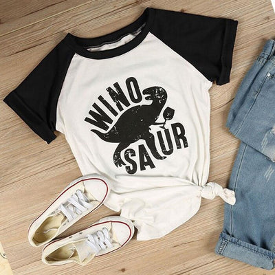 Summer Fashion Casual T-Shirts Women Short Sleeve Raglan Dinosaur Print O-Neck Female Tops T Shirt Ladies Tops Tees Dropshipping