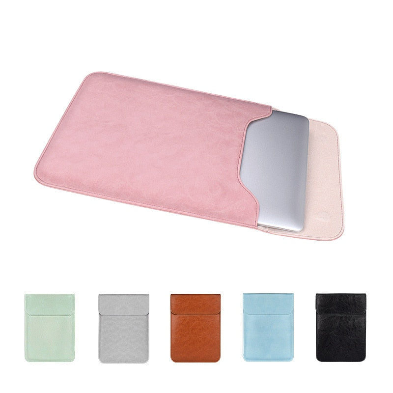 Soft PU Leather Laptop Sleeve For Macbook Air Pro 12 13.3 14 15 inch Laptop Bag Notebook Tablet Case For Xiami DELL Lenovo Cover