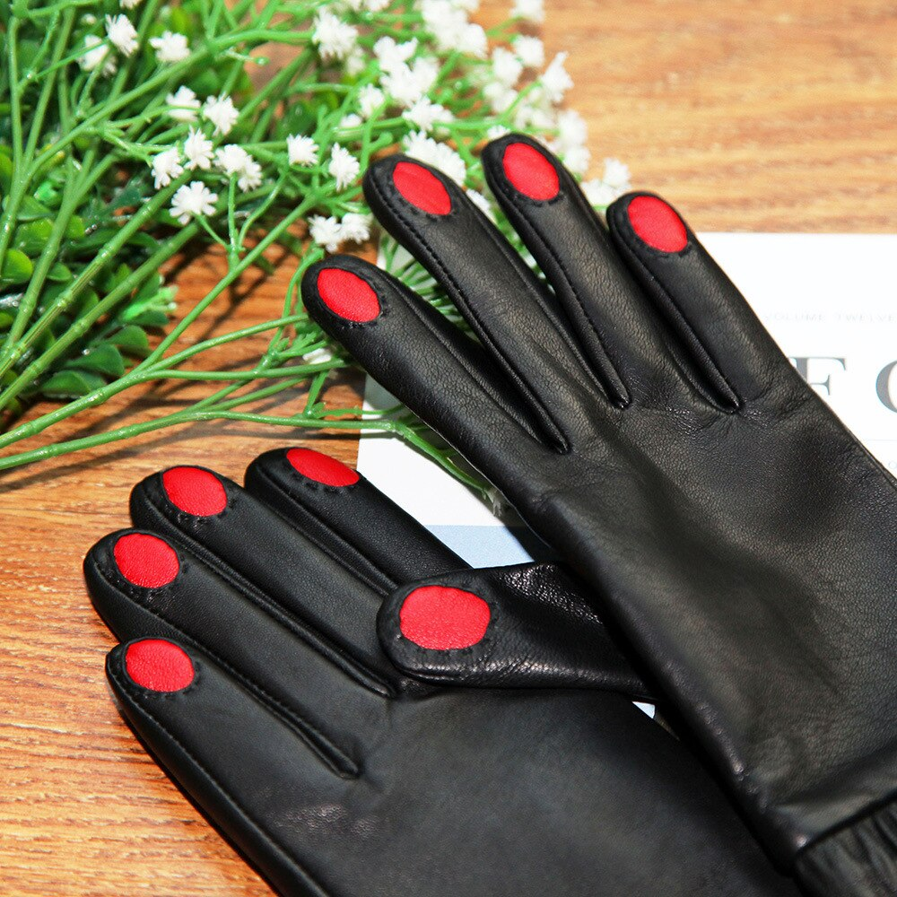 2020 Genuine Leather Gloves Female High Quality Lambskin Gloves Autumn Winter Plus Velvet Thicken Cute Woman's Gloves DQ9106