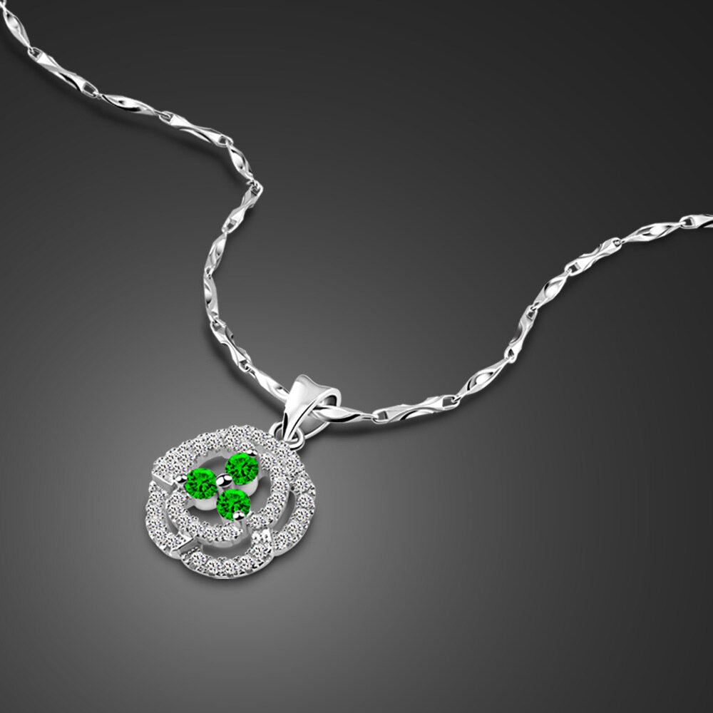 Newest noble Young women Jewelry accessories 925 Sterling Silver Necklace green Shine Zircon Inlay Pendant Design Clavicle Chain