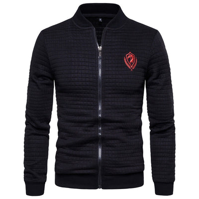 2020 New Spring Eagle Embroidery Sweatshirt Men Cardigan Stand Collar Bomber Jacket Men Casual Plaid Zipper Mens Sport Jacket