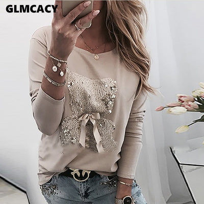 Women Bear Pattern Sequins Bowknot Round Neck Long Sleeve T-shirt Casual T Shirt Tops