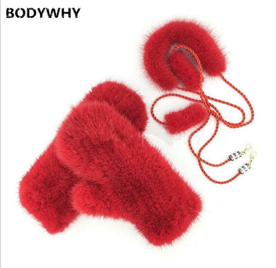 New 100%  Real Rex Rabbit FurMink Fur Knitted Mittens Halter Gloves Winter Warm Women Rabbit Fur Mittens Natural Super Soft Girl