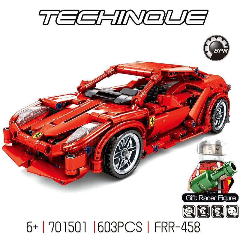 603Pcs legoinglys Ferraried F1 Racing Car building blocks fit Technic Racer Vehicles Supercar Playmobil Bricks kids toys gifts