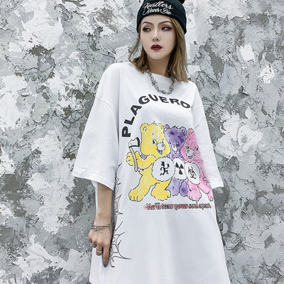 2020 Women Fashion Clothing Plus Size Kawaii Clothes Shirts Funny Women Cartoon T shirts Oversized Japanese Streetwear Punk Goth