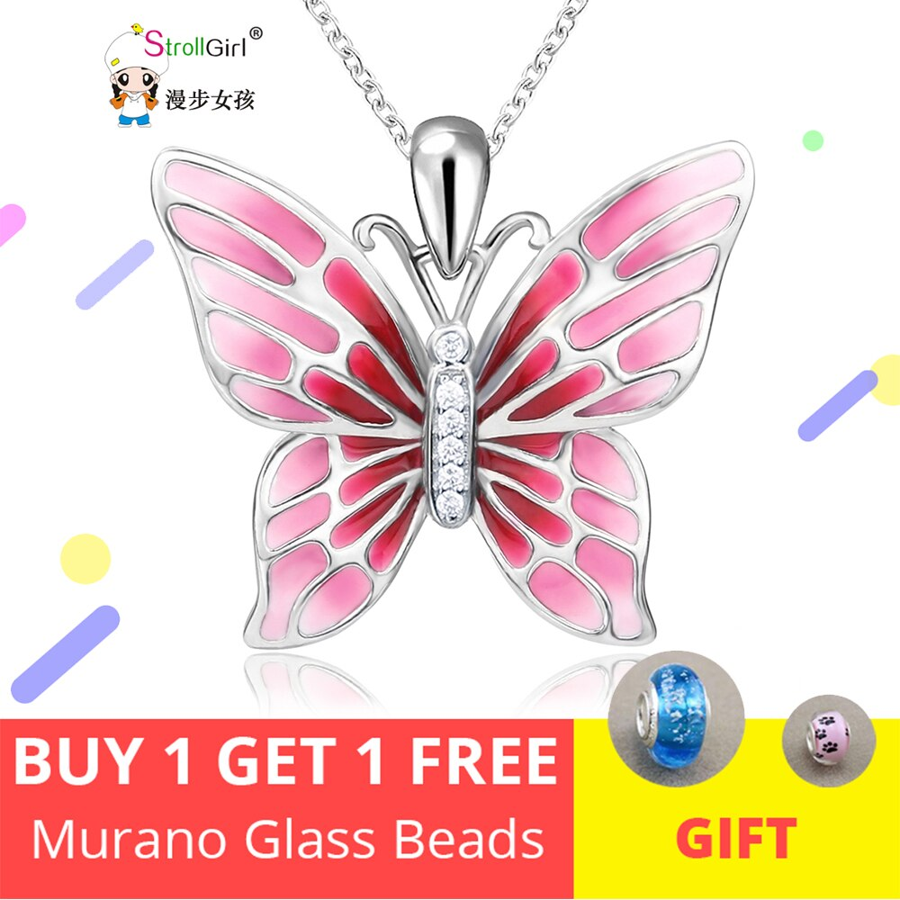 StrollGirl 925 Sterling Silver Chain Pendant Necklace Fashion Jewelry Pink Butterfly Necklaces & Pendants For Women Friends 2018