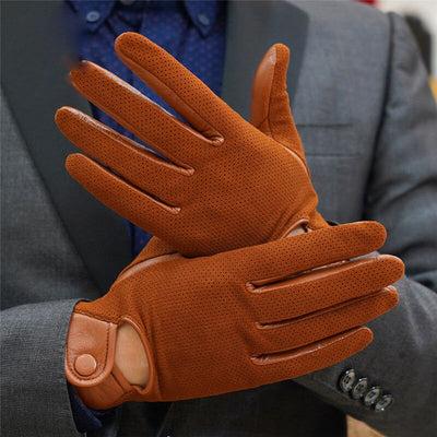 Genuine Leather Gloves Men Winter Thermal Leather Gloves Cycling Motorcycle Driving Thin Touch Screen Sheepskin Gloves M-106