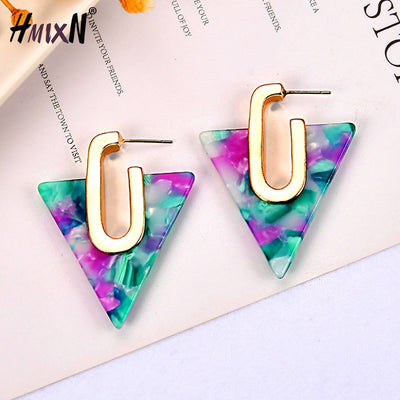 2019 Simple Geometric Acetate Stud Earrings for Women Bohemia Colorful Triangle Acetic Acid Earrings Fashion Jewelry girl gift