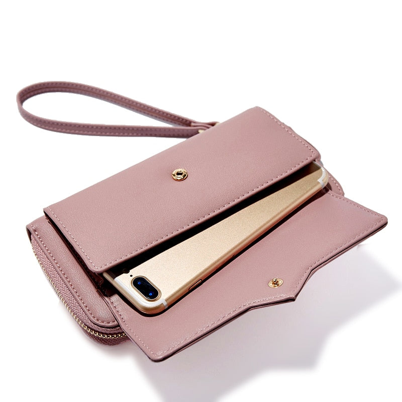 2019 New Women Leather Wallets Female Long Design Solid Purses Woman Phone Cion Card Holders Ladies Big Capacity Clutch Carteras