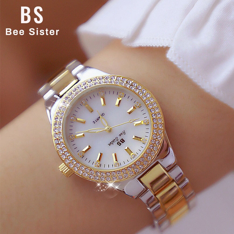 2019 Luxury Brand lady Crystal Watch Women Dress Watch Fashion Rose Gold Quartz Watches Female Stainless Steel Wristwatches 2018