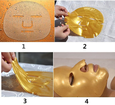 5Pcs/Lot Women Skin Care Facial Mask Gold Collagen Gold Crystal Collagen Powder Face Mask for Moisturizing Firming Oil-control