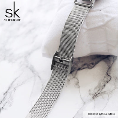 2018 SK Super Slim Sliver Mesh Stainless Steel Watches Women Top Brand Luxury Casual Clock Ladies Wrist Watch Relogio Feminino