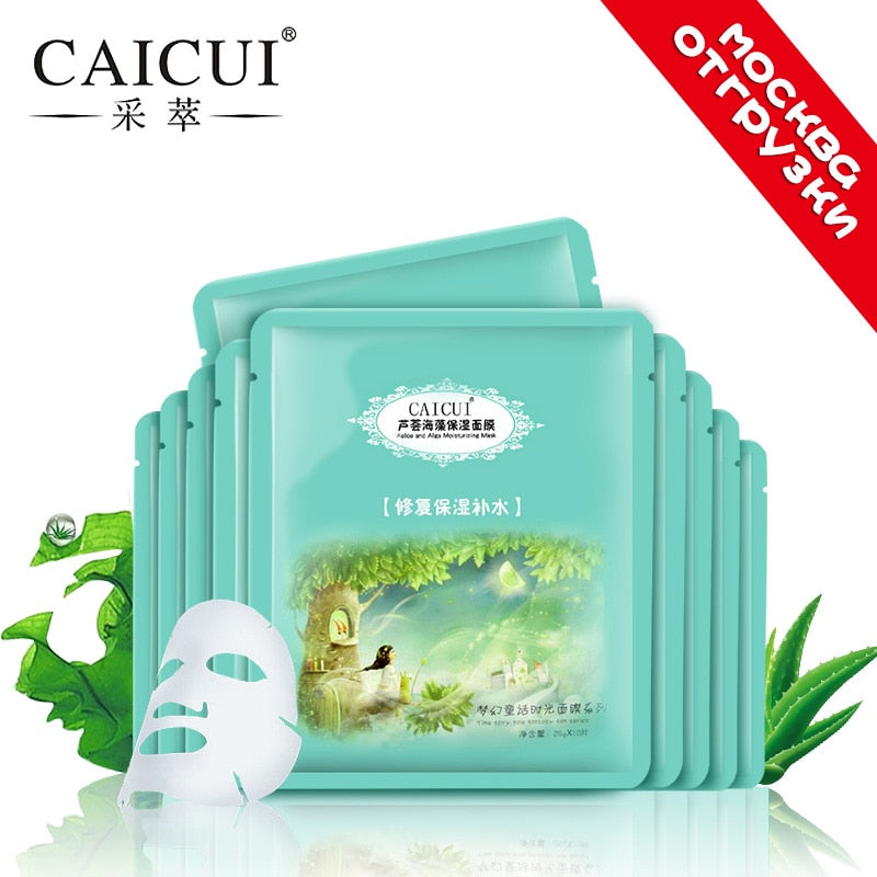 5pcs/lot CAICUI 1pc Aloe Alga Plant Collagen Crystal Nature Anti-aging Moisturizing Whitening Skin Care Man Female Facial Mask