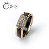 2 pcs/Set Hot Sale Fashion 585 Gold Rings With Bling Rhinestone 2 Layer Black White Detachable Ceramic Rings for Women Jewelry