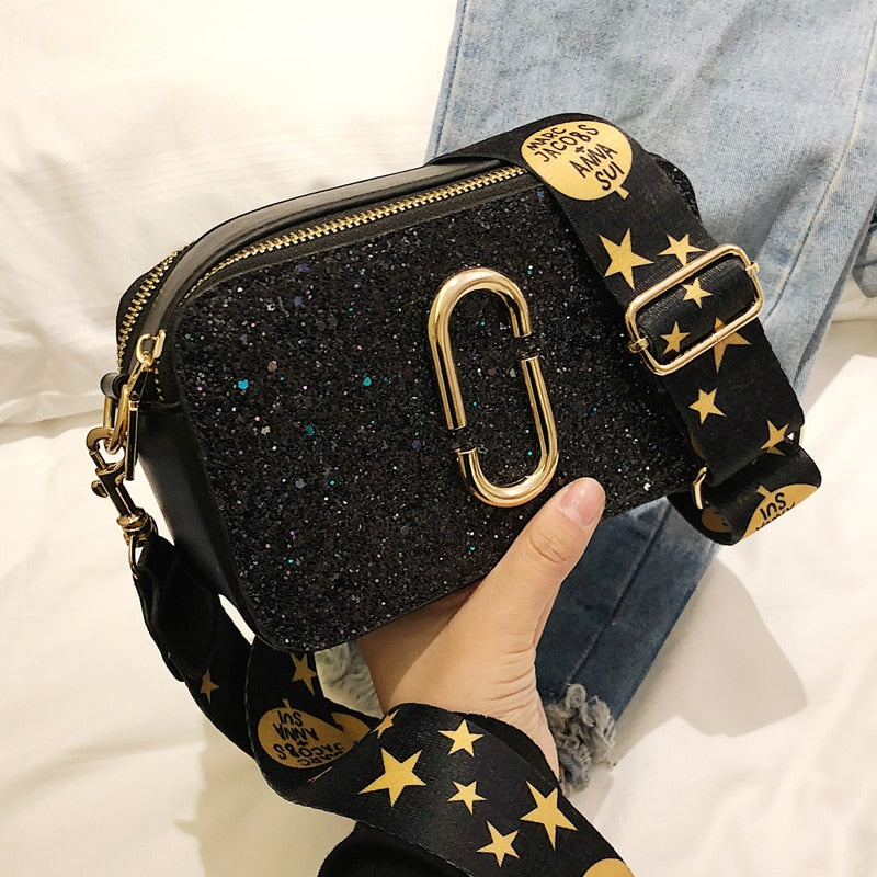 2019 Fashion New Ladies Sequin Square bag High quality PU Leather Women's Designer Luxury Handbag Black Shoulder Messenger bag