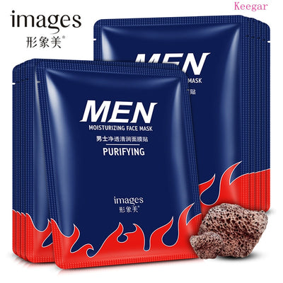 10Pcs Images Volcanic Mud Black Facial Mask Moisturizing Sheet Mask Deep Clean Whitening Face Masks Beauty Skin Care for Men