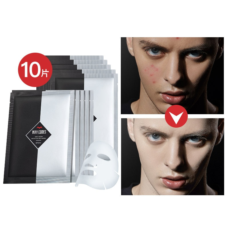 10pcs Men Whitening Facial Mask Shrink Pores Whitening Face Care Brighten Nourishing Mask Moisturizing Oil Control Face Mask