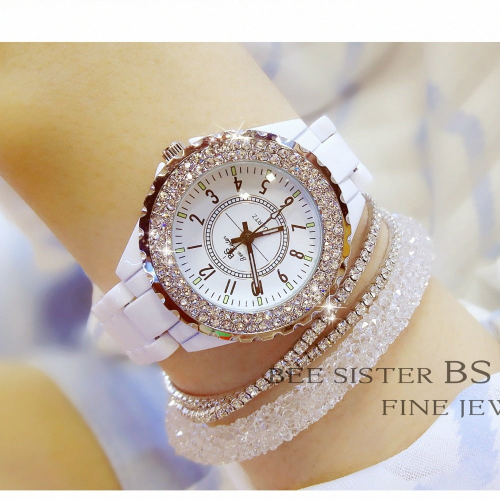 2019 New Luxury Women Watches White Ceramic Diamond Ladies Female Watch Gift Relogios Femininos Fashion Quartz Wristwatch Clock