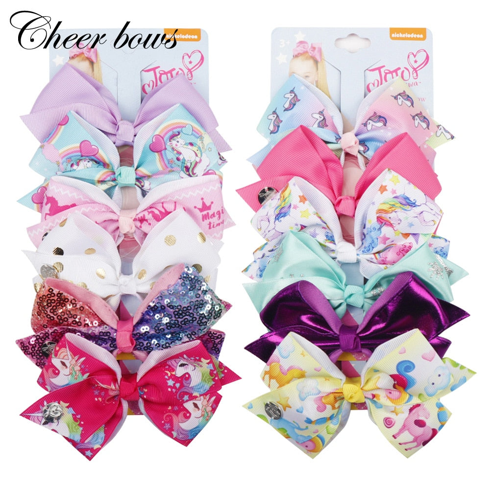 6Pcs/Card 5.5'' Large Unicorn Print Hair Bows Set Rainbow Ribbon Hair Clips For Girls Kid Boutique Card Gift Hair Accessories