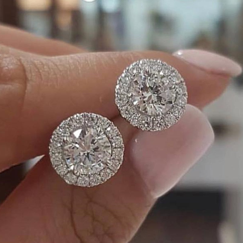 2019 NEW Real 925 Sterling Silver Zircon circle Stud Earrings Brincos for women Boucle D'oreille Femme Bijoux gift jewelry E232