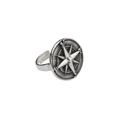 Compass Silver Ring (Free Size)