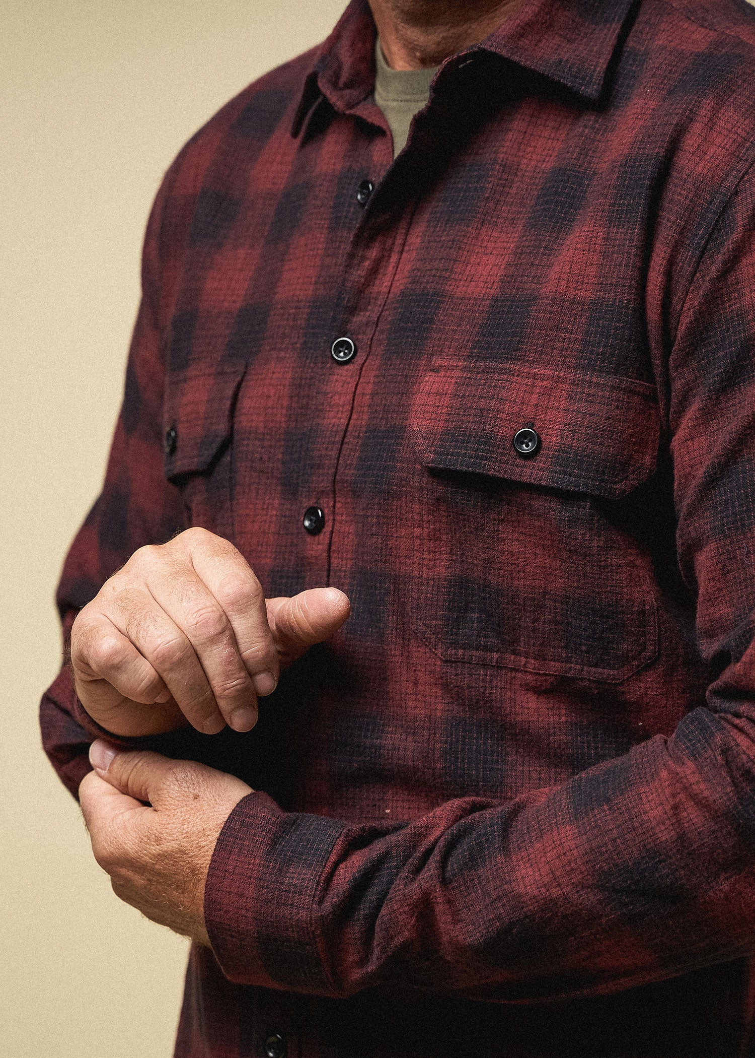 Longjohn-tallmens-heavyflannel-armyplaid-sumacred-closeup