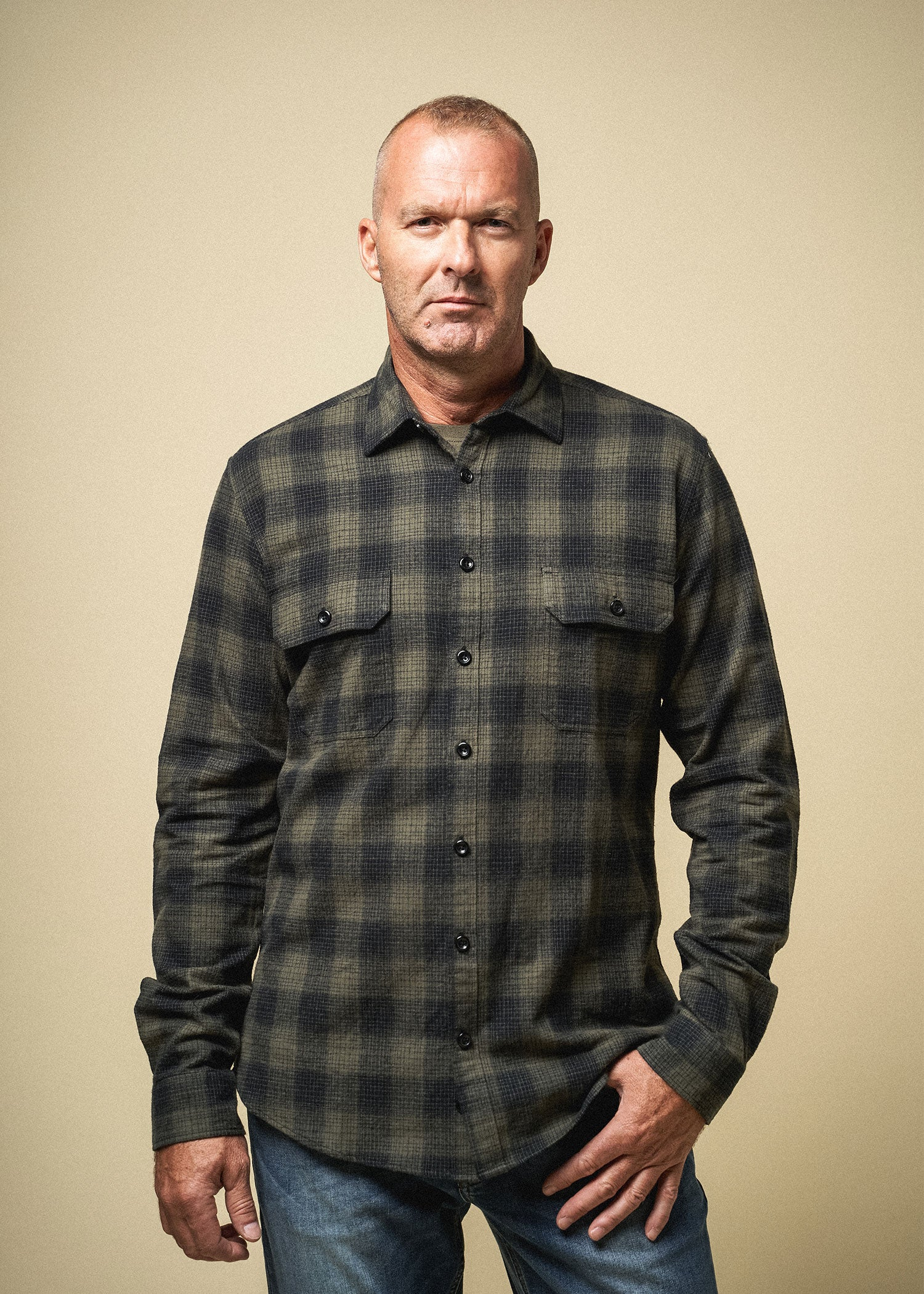 Longjohn-tallmens-heavyflannel-armyplaid-surplusgreen-front
