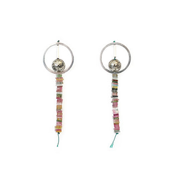 Tourmaline & Pyrite Circle Studs | SMITH Jewellery