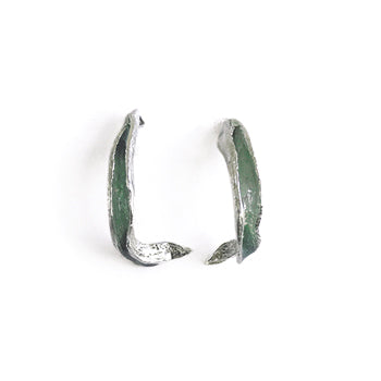 Green Seaweed Hoop Studs | SMITH Jewellery