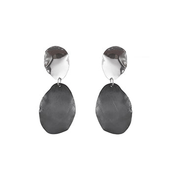 Mini Silver Petal Studs with Oxidised Drop | SMITH Jewellery