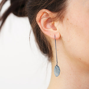 Small Silver Petal Long Earrings | SMITH Jewellery