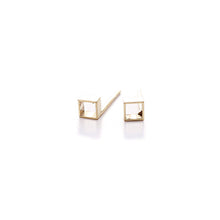 Load image into Gallery viewer, Cross-Section Gilt Tube Studs | SMITH Jewellery