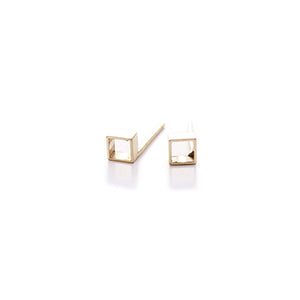 Cross-Section Gilt Tube Studs | SMITH Jewellery