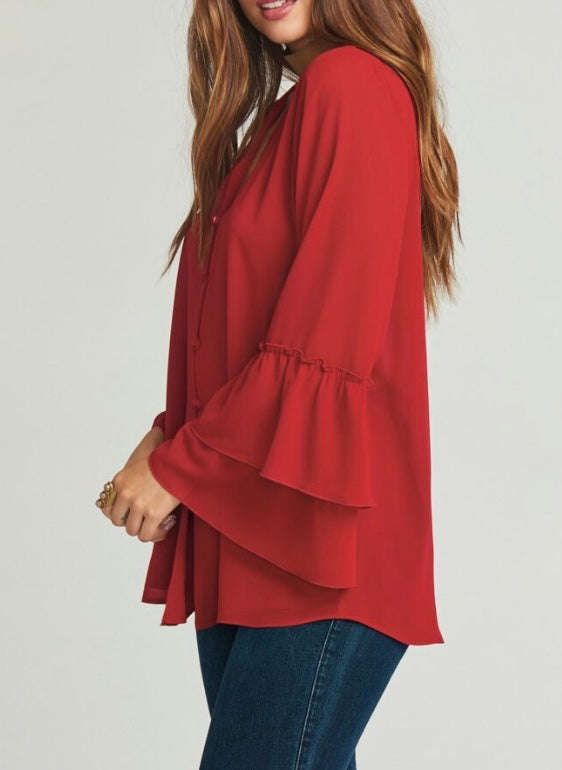 Show Me Your Mumu Ruffle Sleeve Blouse