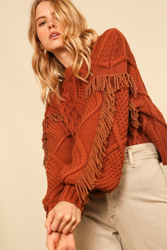 Line & Dot Fringe Sweater