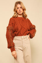 Load image into Gallery viewer, Line & Dot Fringe Sweater