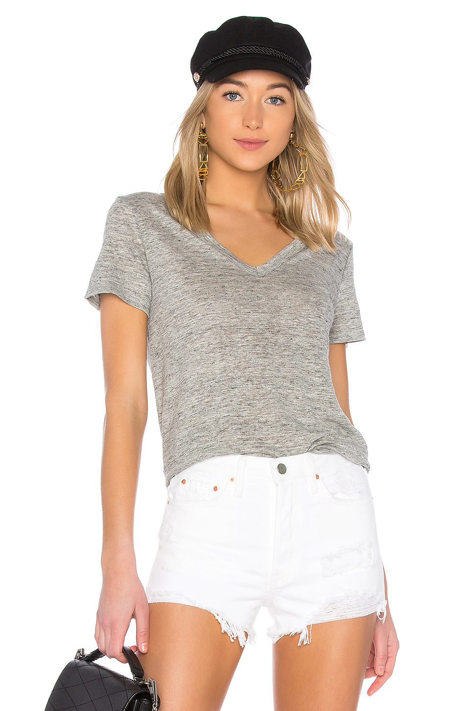 Enza Costa Linen Loose Short Sleeve Tee
